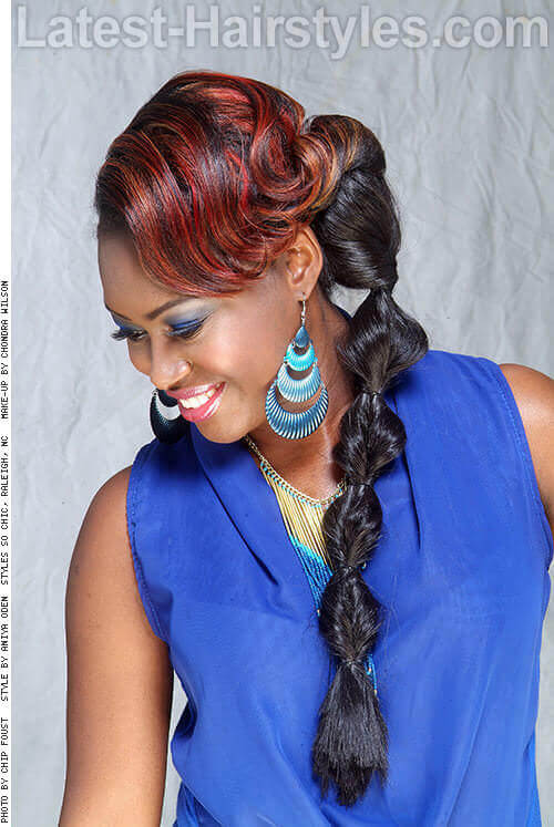 Fun Twisted Ponytail for Long Hair
