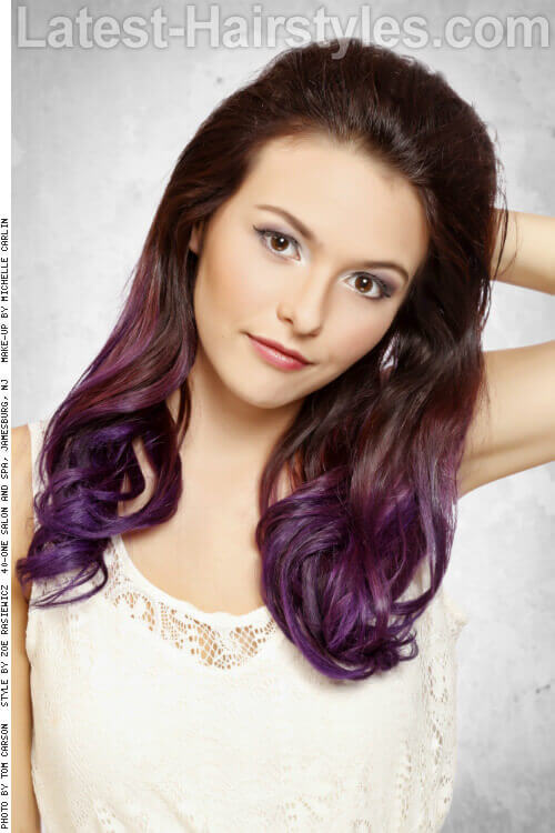 Ombre Haircolor with Violet Ends Front
