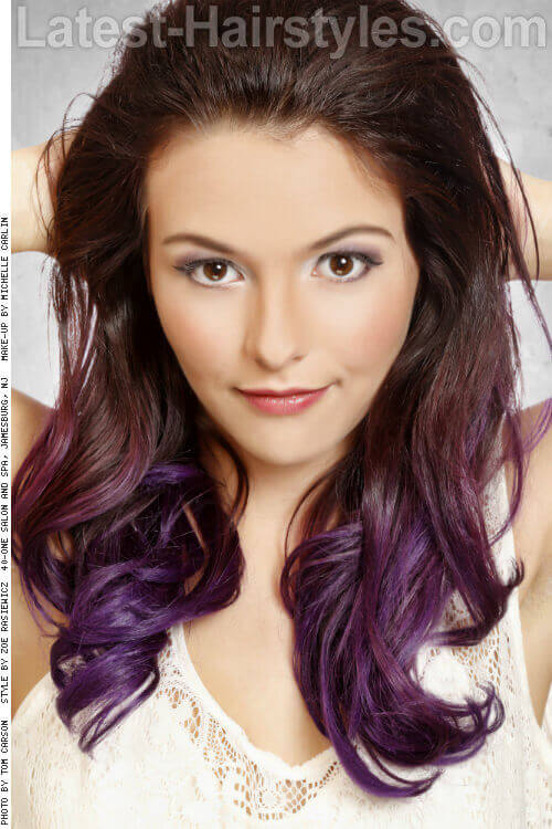 Ombre Haircolor with Violet Ends