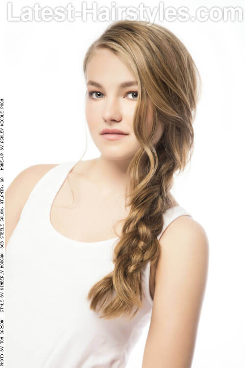 Tousled Side Braid for Long Hair