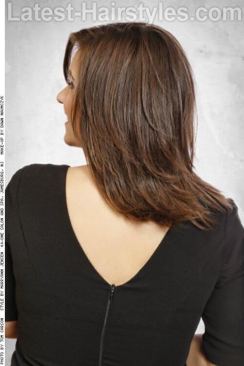 Brunette Hair Color with Mid Caramel Highlights Back