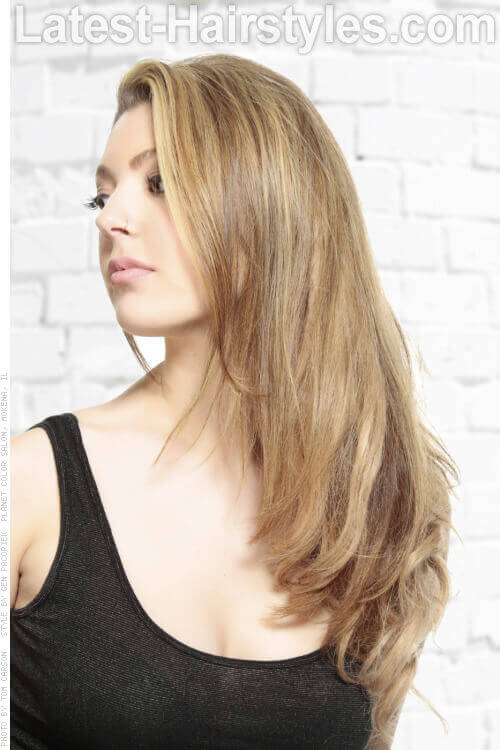 Buttery Blonde and Caramel Hair Color Side