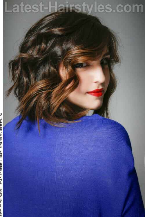 Dark Brunette Haircolor with Pop of Caramel Side