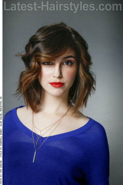 Dark Brunette Haircolor with Pop of Caramel
