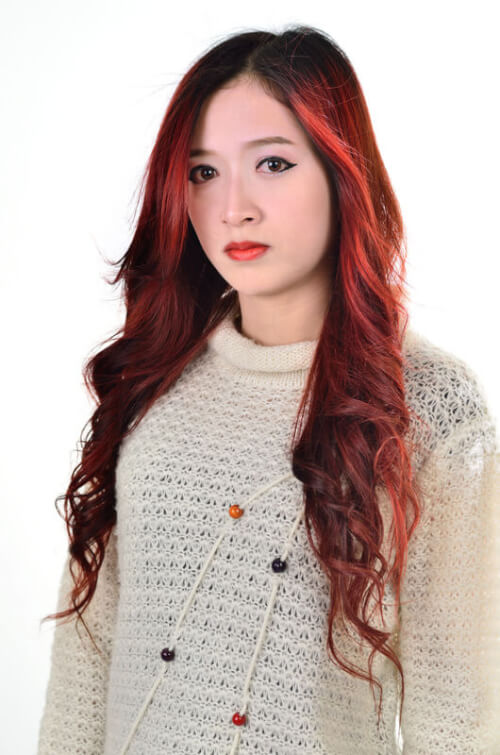 High Ombre Hair Color with Black and Red