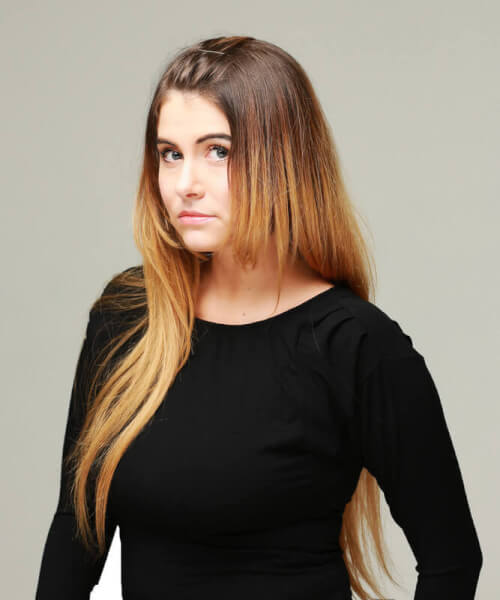 Medium Brown Ombre Haircolor with Warm Blonde