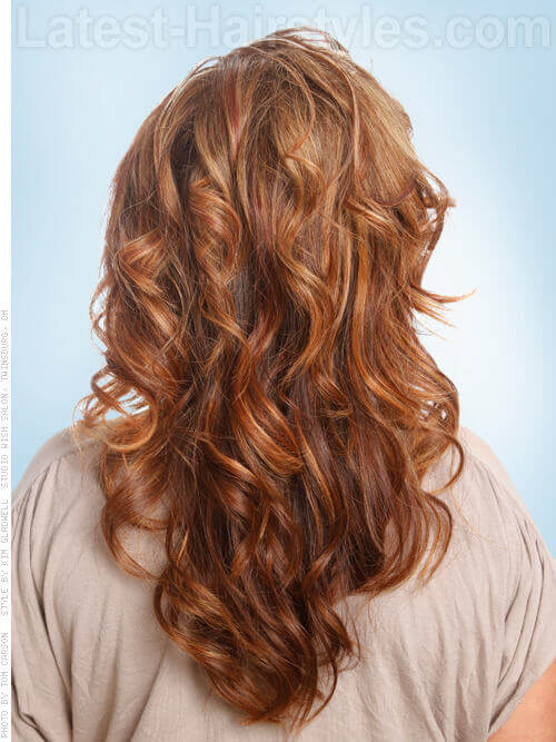 Warm Toffee Caramel Haircolor with Curls Back