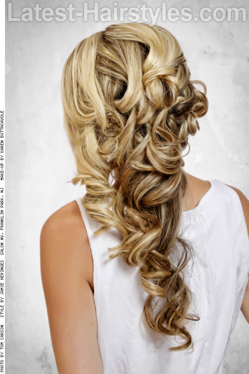Formal Side Swept Long Curly Hairstyle Back