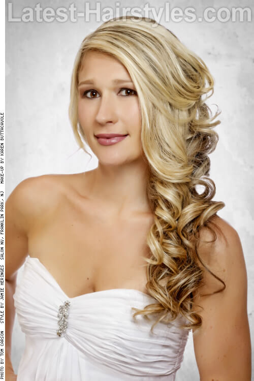 Formal Side Swept Long Curly Hairstyle