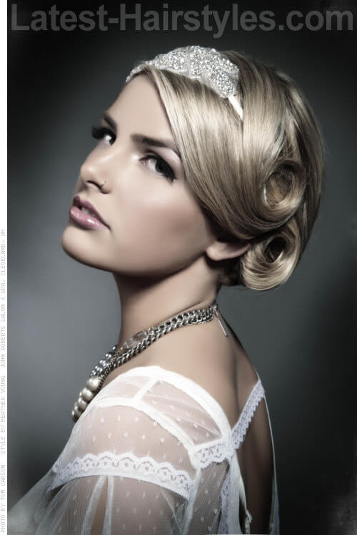 Glamorous Evening Updo with Headband