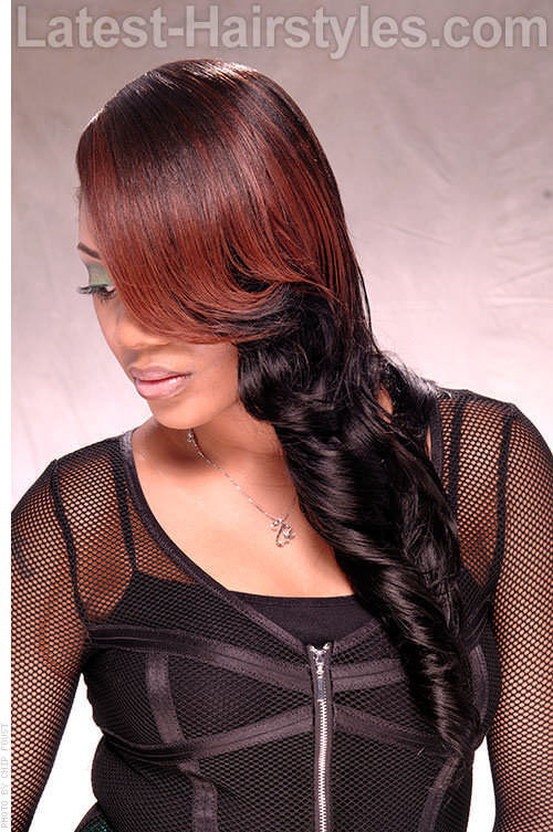One sided Swept Curls 2 Red Hairstyles Black Hair