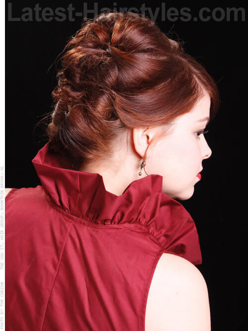 Timeless Formal Updo with Bangs Back