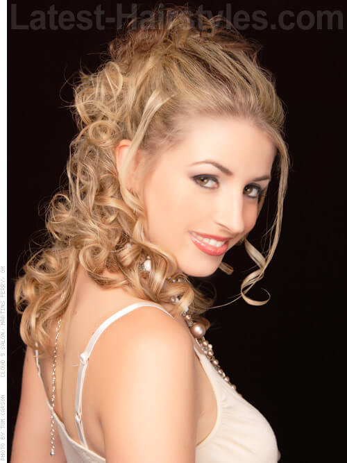 Tousled Romantic Evening Updo with Curls Side