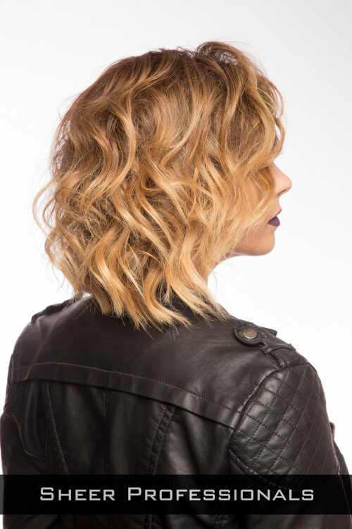 Caramel Highlights on Wavy Hair Side