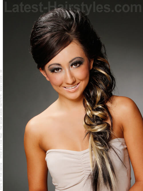 Thick Side Braid with Teased Bouffant