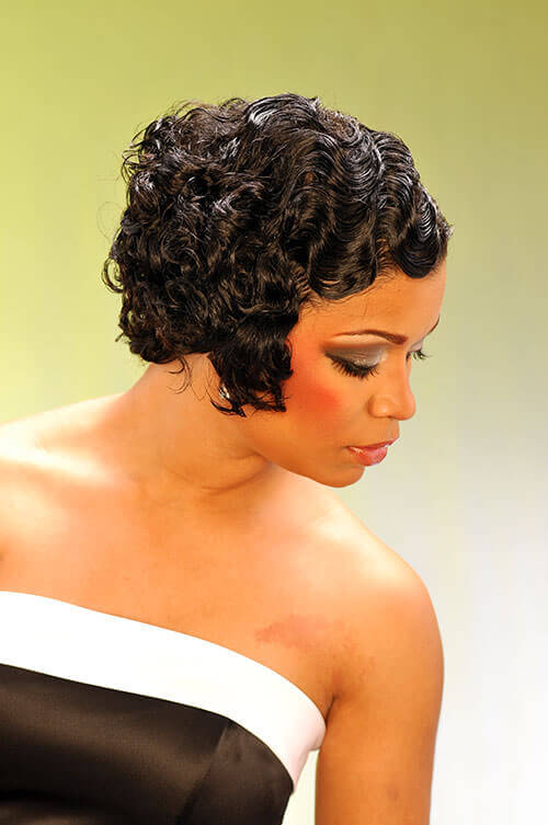 Vintage Hairstyle with Finger Weaves Side