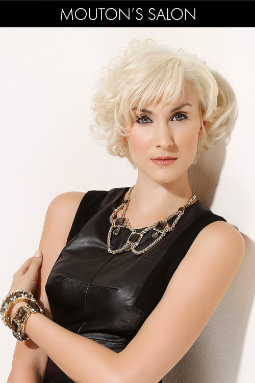 Short Blonde Hairstyle with Winter Fringe
