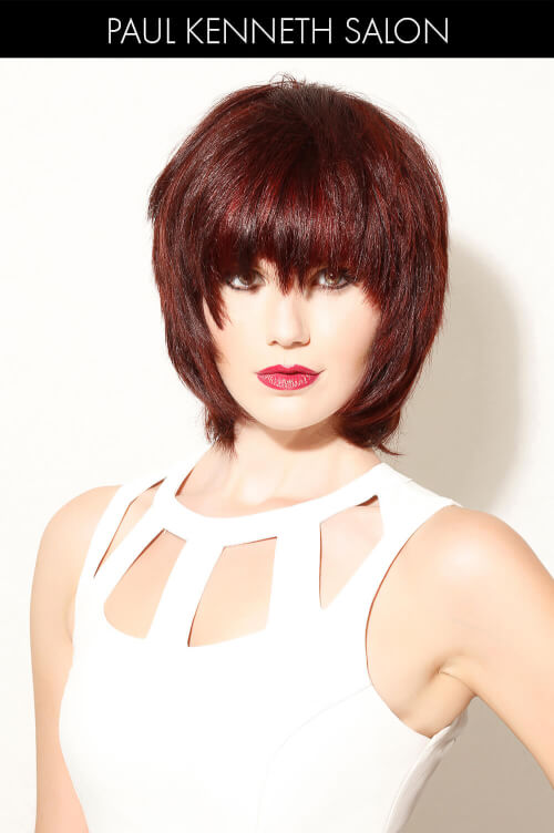 Dark Violet Hair Color with Bright Red Highlights