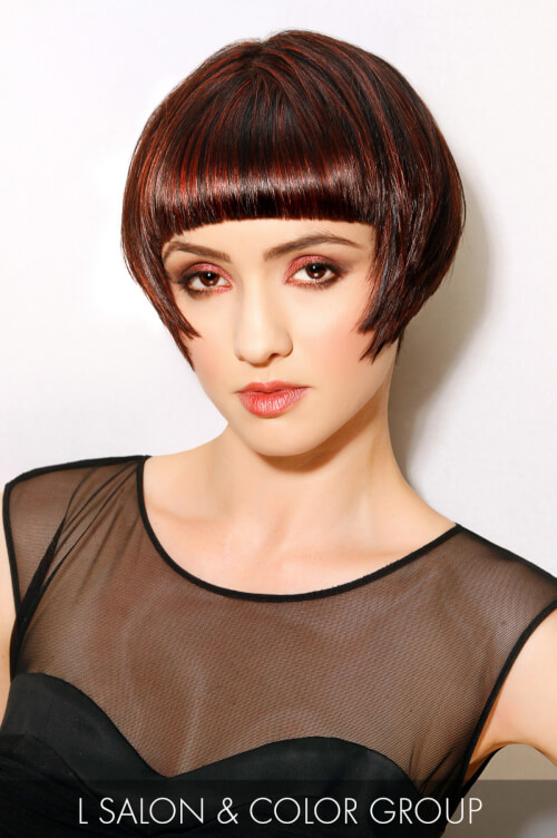 Dark Brown Hair Color with Crimson Highlights
