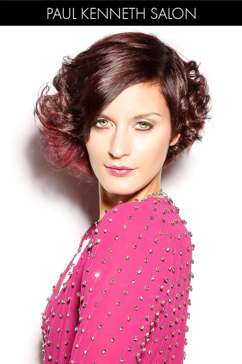 Deep Violet Hair Color with Pop of Wine