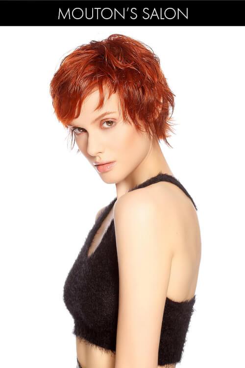 Bright Copper Hair Color on Short Shaggy Haircut