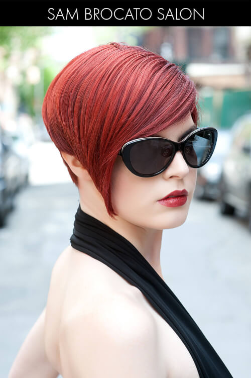 Bright Red Hair Color with Copper Highlights