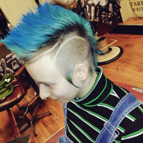 Picture of a 70s punk blue mohawk