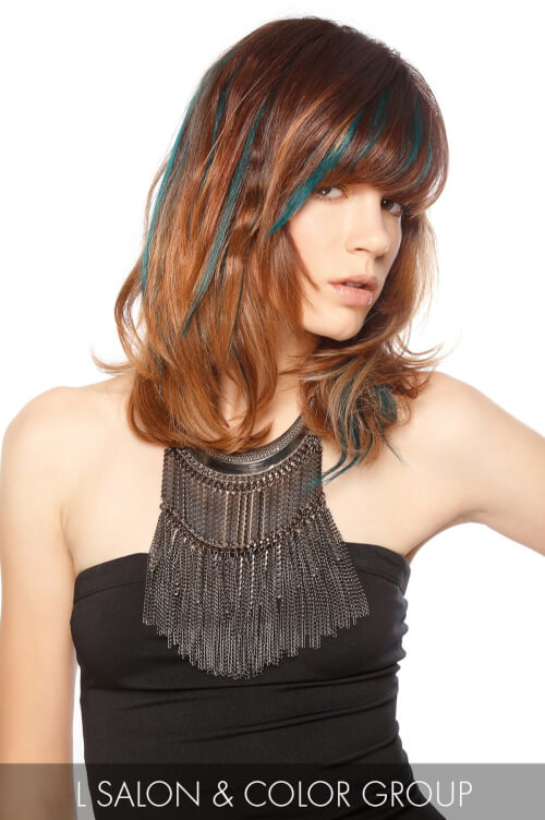 Brown Hair Color with Green Highlights