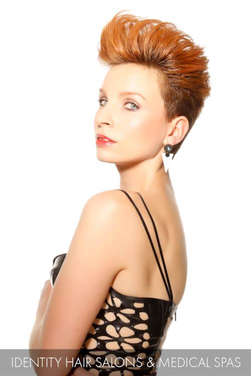 Fiery Hued Pompadour Hairstyle