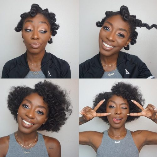 Bantu knots before and after