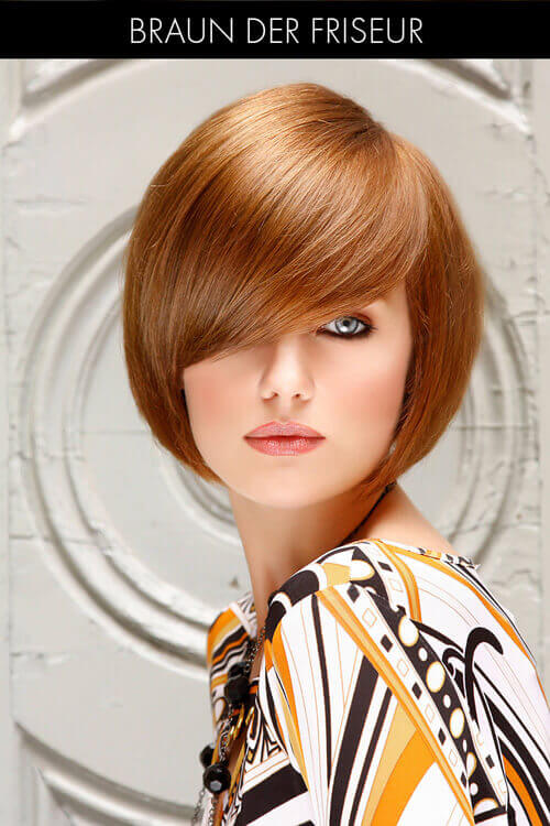 Copper Round Bob With Side Swept Bangs