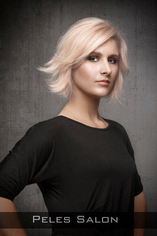 Peach Blonde Bob with Flipped Hair