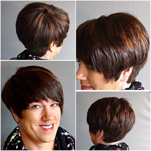 Caramel disconnected pixie cut for older women over 40