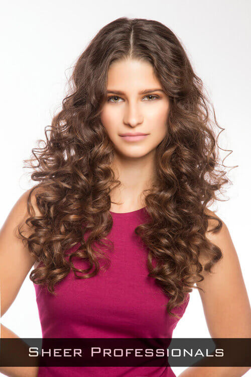 Chocolate Brown Hair Color with Caramel Curls