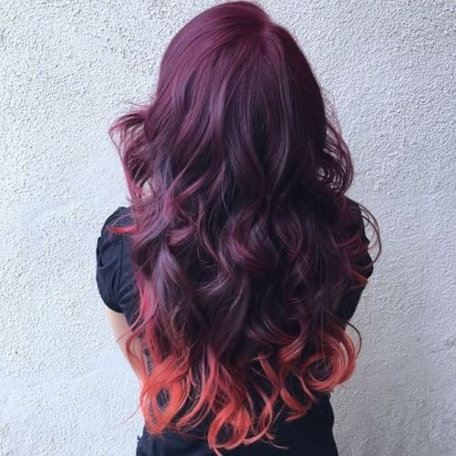 Dark Cherry Burgundy Hair Color To Neon Tangerine Orange
