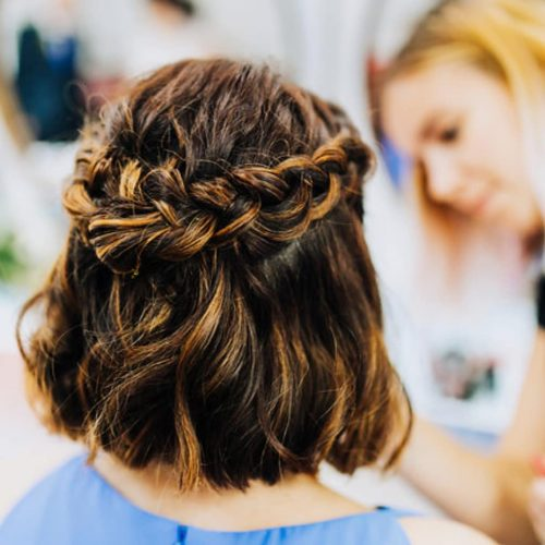 A shoulder length french braid hairstyle