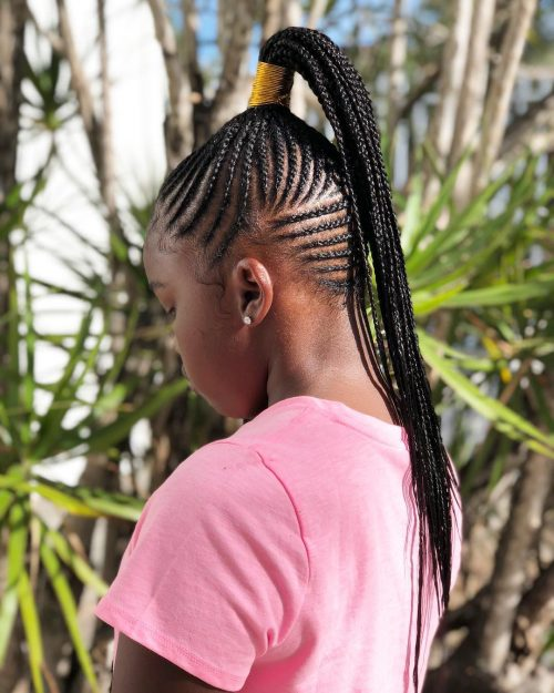 Ghana braids in a high ponytail