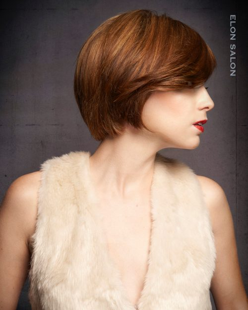 A rounded bob haircut with long bangs