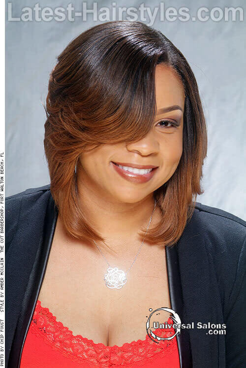 Hairstyle for Round Faces with Side Bangs