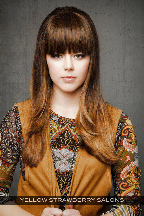 Long Hairstyle with Wispy Layers and Heavy Fringe