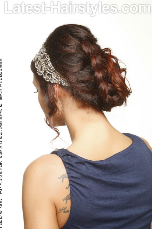 Looped French Braid Updo for Long Hair Back