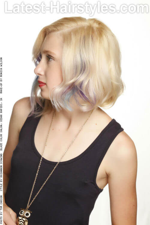 Low Maintenance Wavy Bob Hairstyle Side