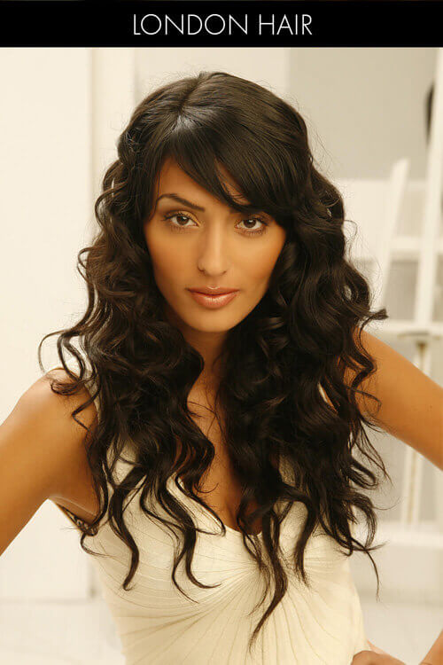 Natural Long Curly Hair with Bangs