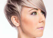 Pastel Toned Short Hairstyle with Fringe Side