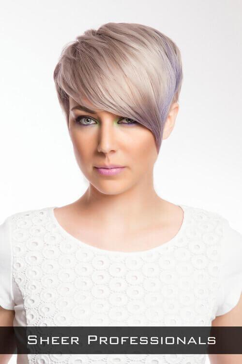 Pastel Toned Short Hairstyle with Fringe