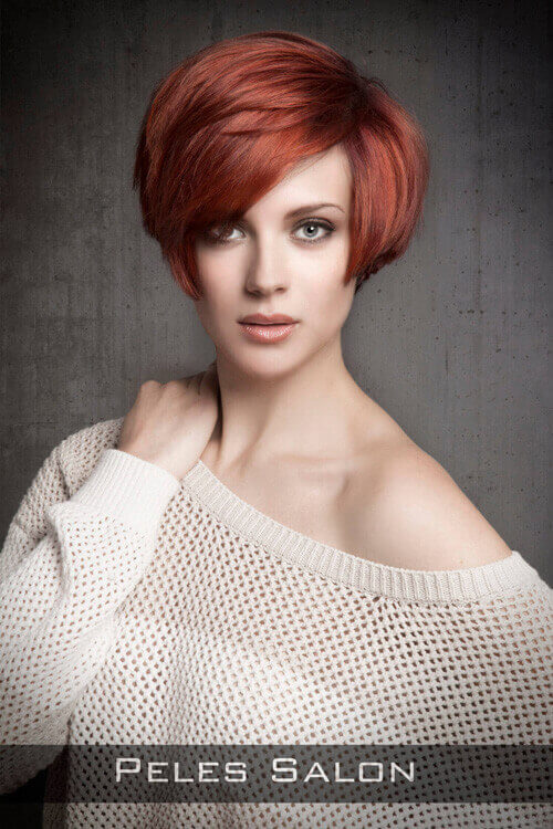 Short Hairstyle with Volume and Fringe for Long Faces