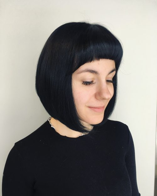 Picture of a vintage take on a modern bob with short bangs