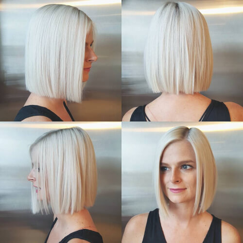 A platinum blonde bob