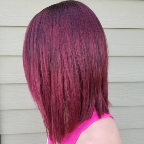 Picture of a bold burgundy red shoulder length hair
