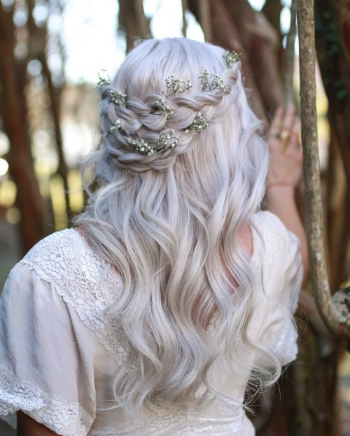 Picture of an adorned crown long hairstyle for wedding